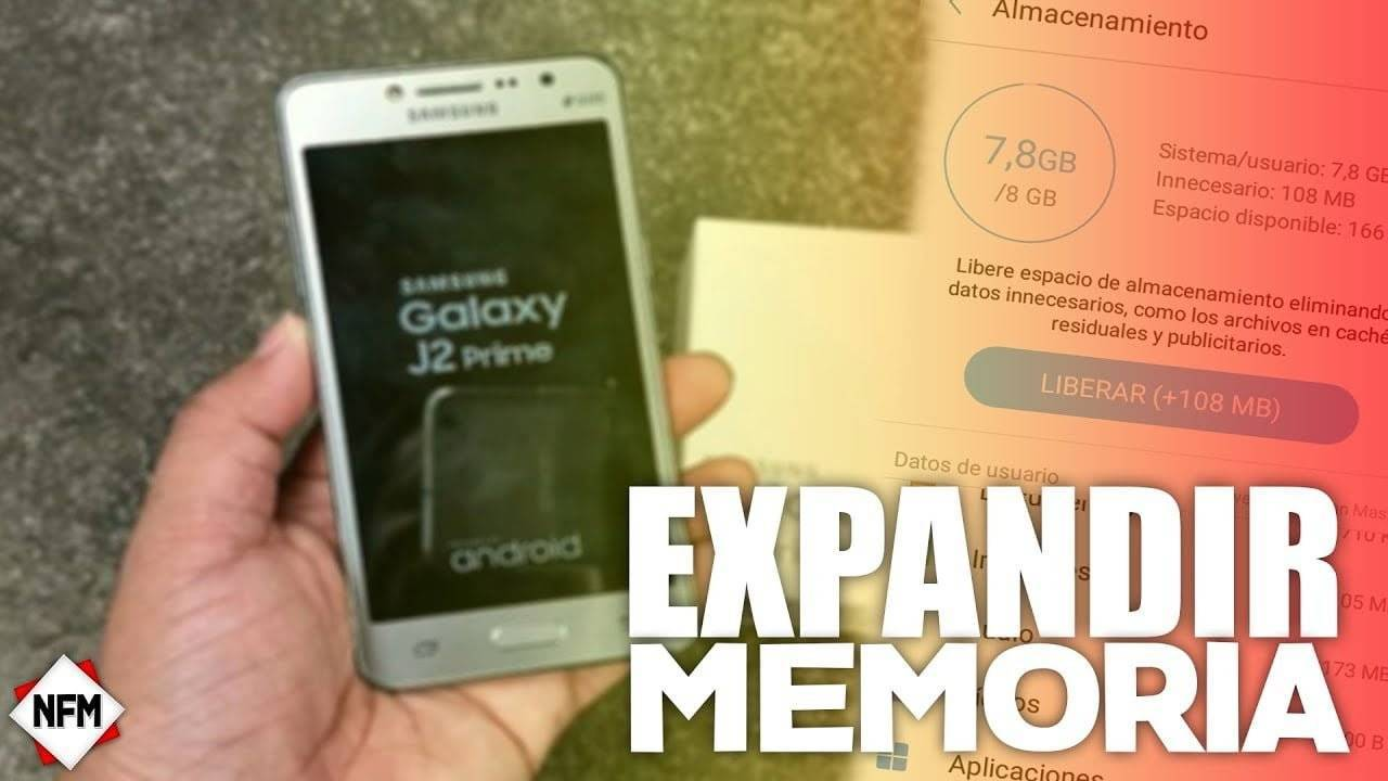 como expandir o liberar memoria en un j2 prime